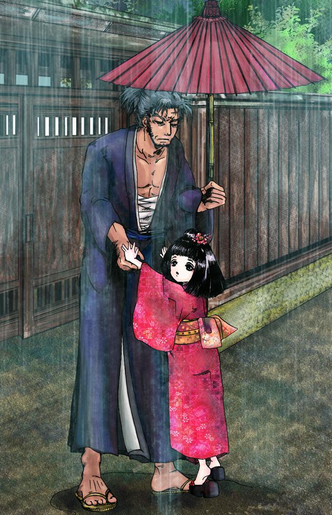 イラスト和風:姫と浪人